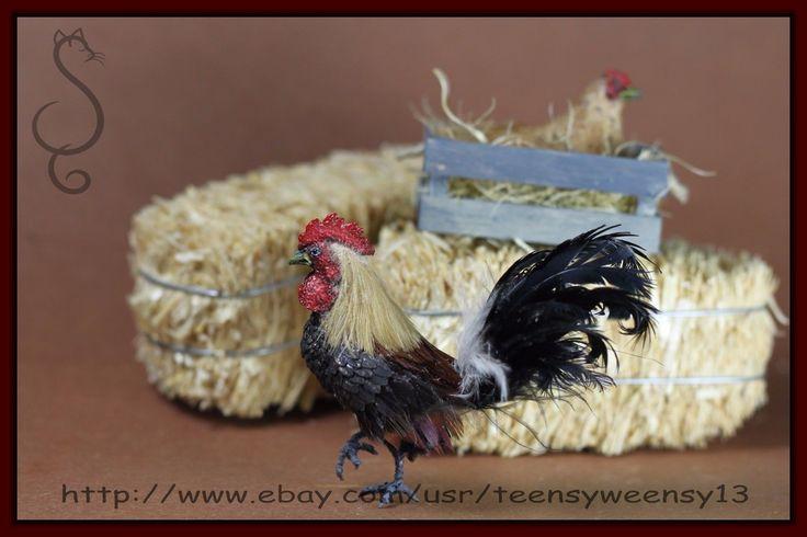 OOAK Dollhouse Miniature Rooster Flocked Handmade Animal 1 12 | eBay