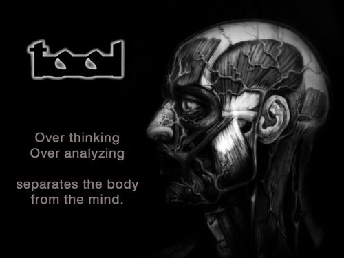 Lateralus - THIS LYRIC RIGHT HERE. Over thinking, Over analyzing, separates the body from the mind!!!!!