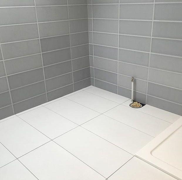 Large White Hexagon Tile Bathroom