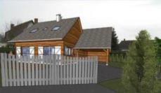 Perspective du plan de permis de construire de cette maison en bois