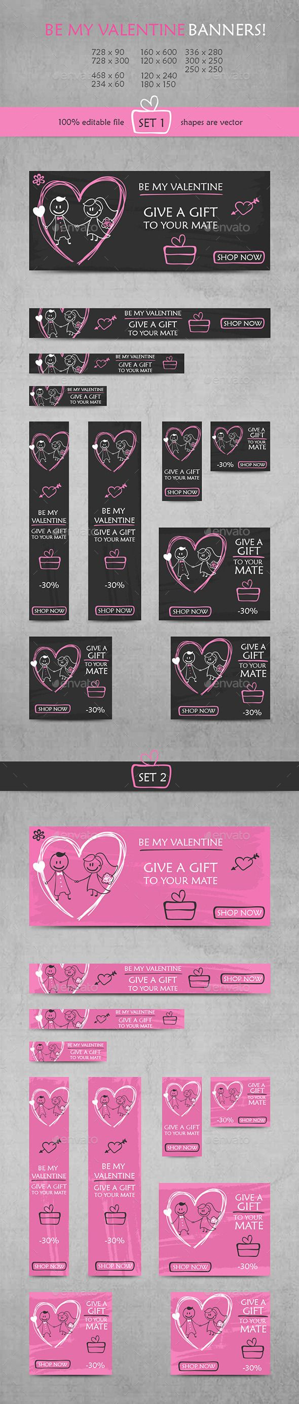 Be My Valentine Banners