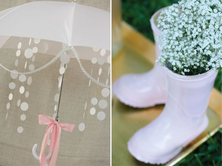 Unexpected: use rainboots (spraypainted) and baby's breath as an inexpensive, adorable DIY #babyshower decor!