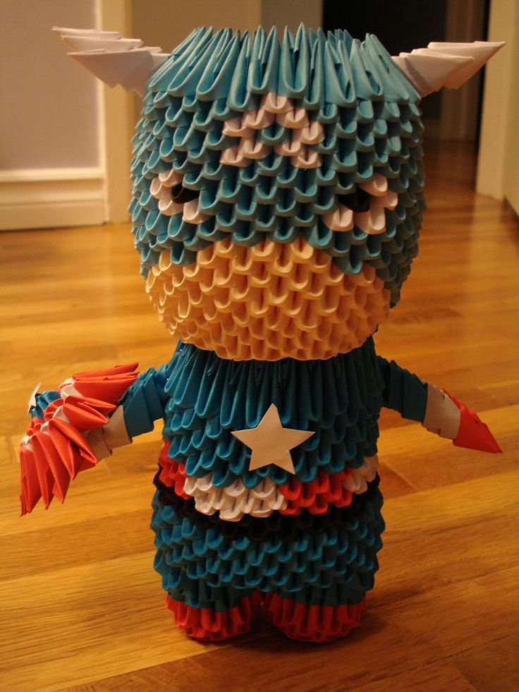 infernal-fleshcage:  Origami Captain America. He's the Star Spangled Man with a plan! I'm Canadian, for the record.