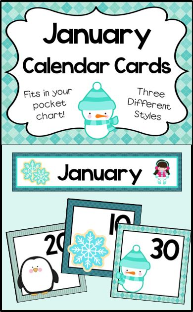 Number cards for your January calendar. 3 designs. Cards fit in your pocket chart.
