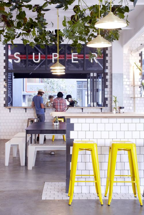 heatonYellow Stools, S'Mores Bar, Hanging Plants, Subway Tile, Restaurants Interiors, Capes Town, Bar Stools, Cafes Design, Counter Stools
