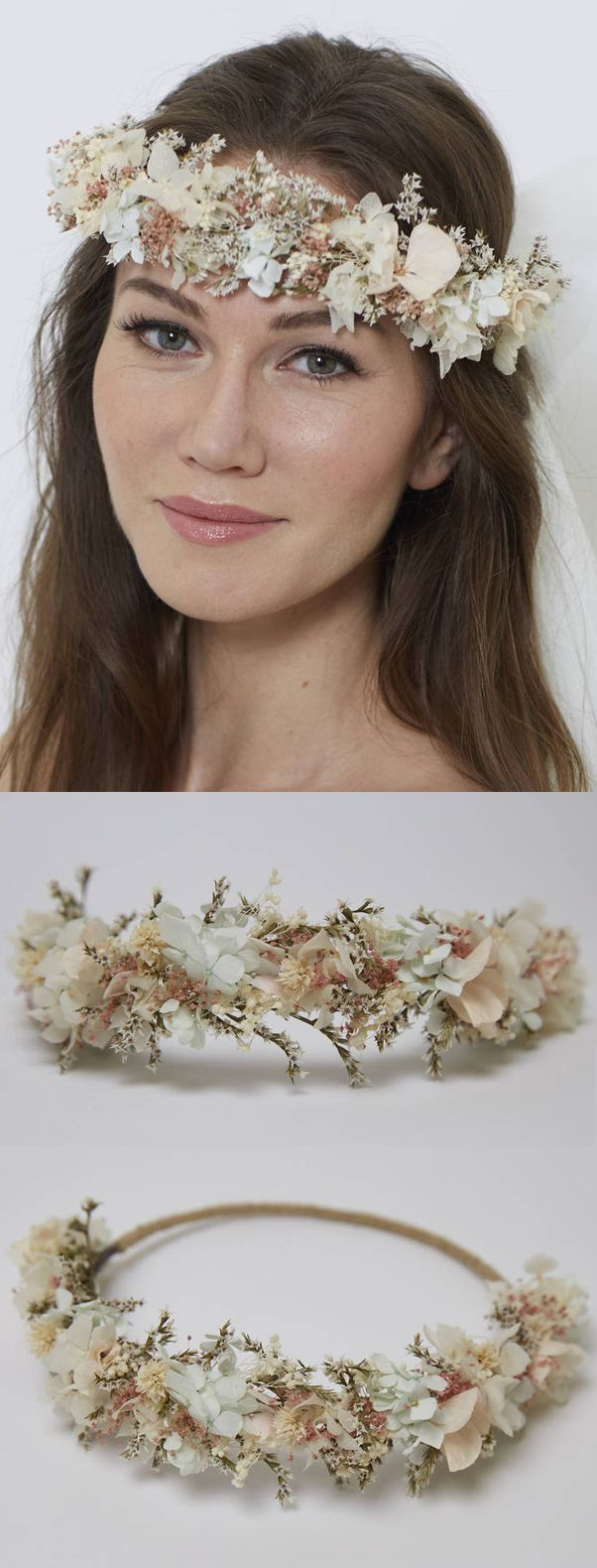 Made from 100% preserved hydrangeas and other treated flowers. It will create a very boho look. It is very light, you'll forget that you're wearing it. The UK's first everlasting all-natural floral accessories company + pioneers of preserved flower crowns, delivering luxurious, unique exquisite headpieces for contemporary brides. Bridal Crystal Crown, Halo Headband, Halo Crown, Hair Vine, Headband, Boho Circlet. #wedding #winterwedding #bride #bridalwear #millinery #bridalcrown…