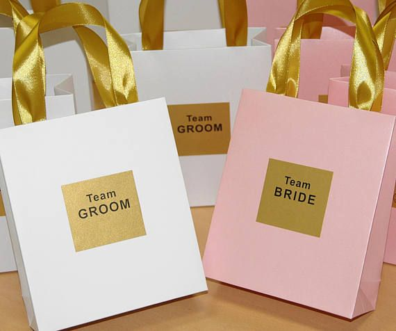 Team Bride Team Groom gift Bags with satin ribbon handles and