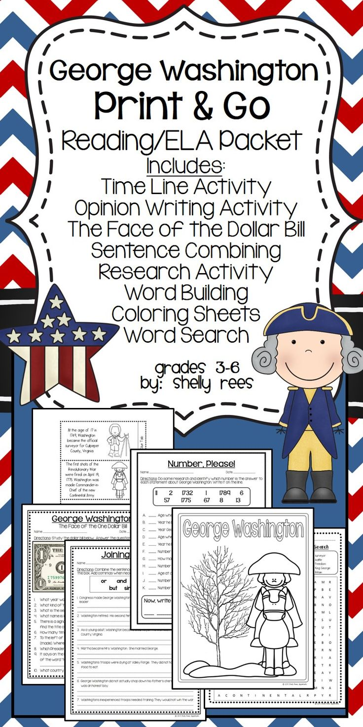 George Washington, Presidents' Day, Reading/ELA Resource Packet. Timeline activity, Money Worksheet, Sentence Combining, Word Building, Coloring Sheets, Word Search, and More! My fifth graders will love this!  Grades 3-6 by Shelly Rees