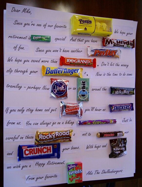 Candy bar retirement poster