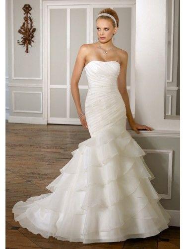 Organza Removable One Shoulder Strap Mermaid Wedding Dress