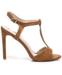 MILAYA Klasické hnědé sandály ze semiše 40