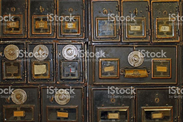 Antique Mailboxes in an Old Post Office royalty-free stock photo