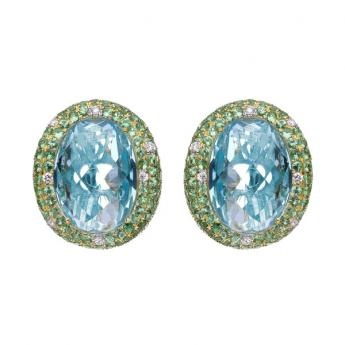 Blue Topaz and Green Tsavorite Set in 18ct Yellow Gold