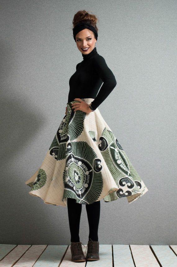 Midi skater dress canvas printed skirt full by LeMoutonBleuShop