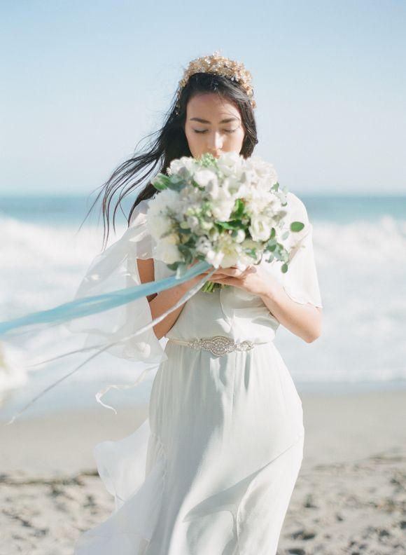 Katie Burley Millinery Ethereal Beach Wedding Inspiration