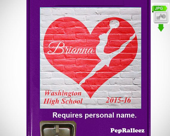 School Locker Sign Decorations, Personalized Dance, Drill Team or Cheerleader Locker Sign Decoration, PepRalleez  This dynamic graphic marks the
