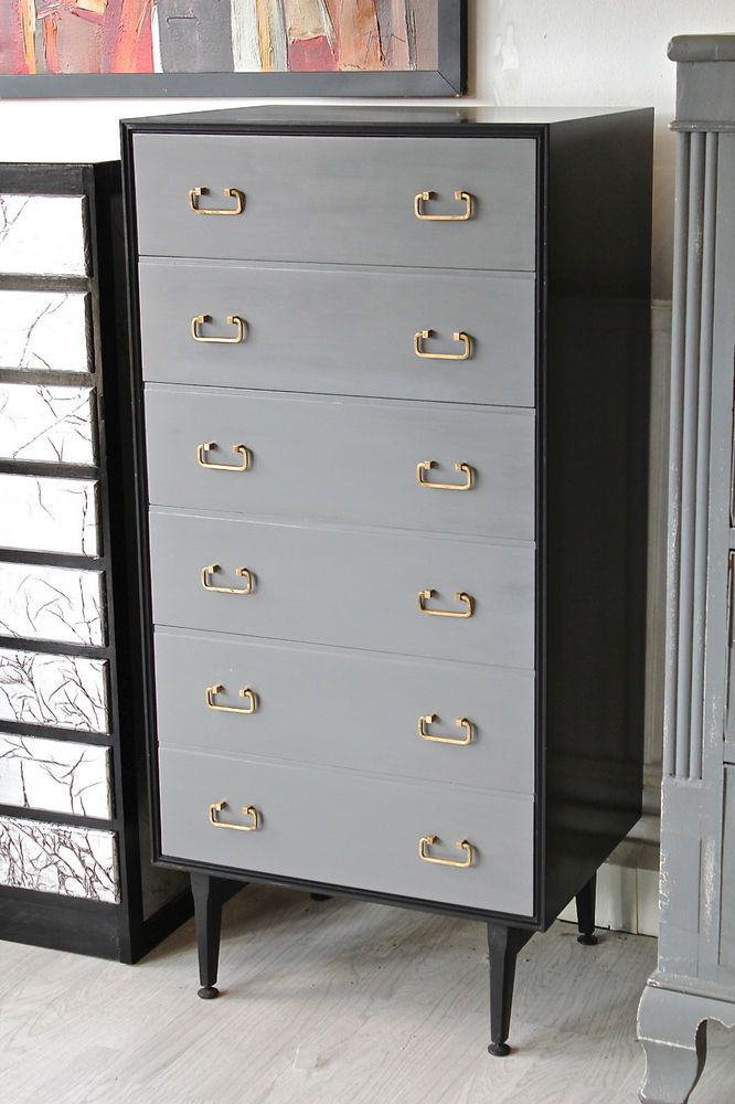 It was thoroughly sanded,spray painted with specialist primer,undercoated with Dulux undercoat and finally three coats of acrylic eggshell topcoat,black and grey for the drawers,a tough finish superior to chalk paint as it is more durable and wipable. | eBay!