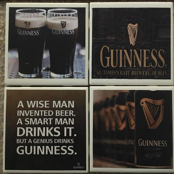 Handmade Coasters Guiness Beer by CourtneySonnenbergCo on Etsy