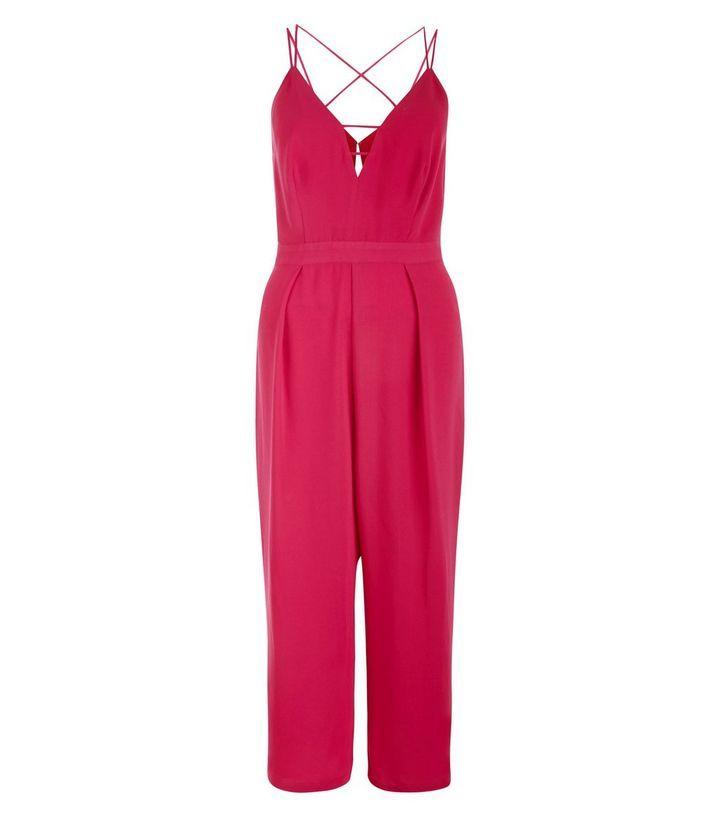 Combinaison jupe-culotte rose vif à bretelles croisées dans le dos | New Look
