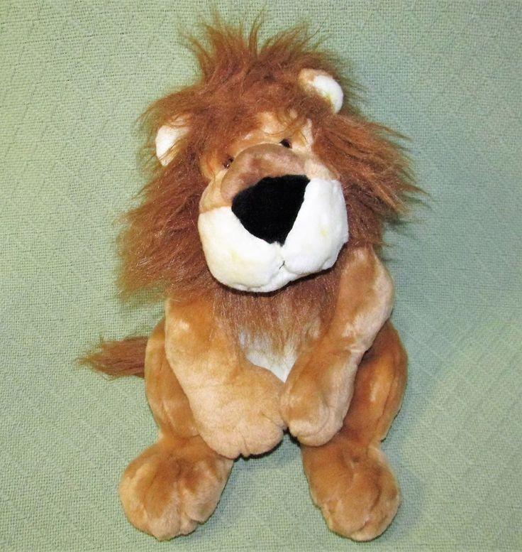 "Walmart 18"" LION Plush Floppy Bean Bag Stuffed Animal Wild Cat Tan White Toy #Walmart"