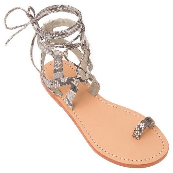 Mystique Lace Up Sandal With Toe Ring (250 CAD) ❤ liked on Polyvore featuring shoes, sandals, toe ring shoes, snake shoes, toe loop sandals, laced shoes and laced sandals