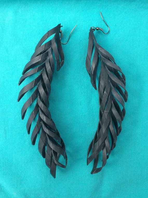 Upcycled bicycle tube earrings recycled feathered by sudify