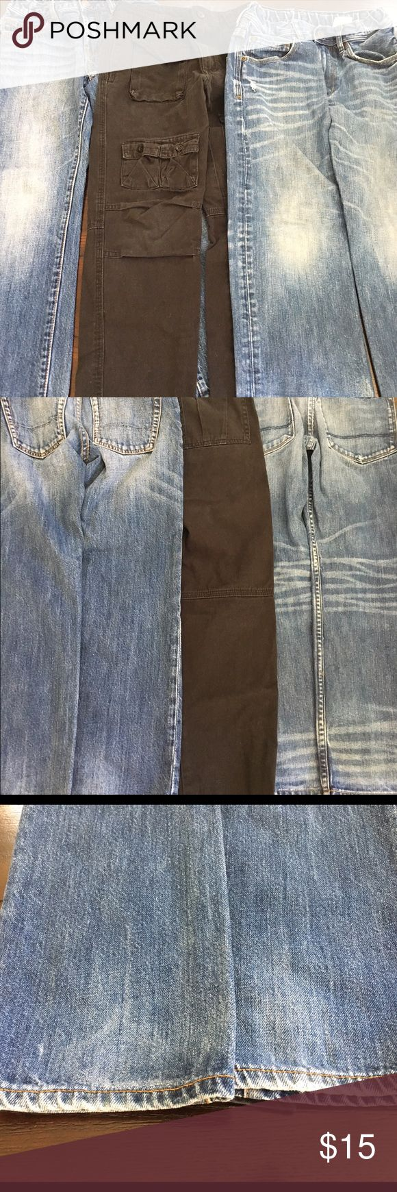 Boys jeans Lot Sz 10 &Denim Sean John Gap Old Navy Lot of 9 pairs of boys pants size 10; good condition some have distressed patches may b wear or design - see pics. 6 pair of Old Navy -2 jeans -straight & skinny; Gray- super skinny; red skinny; blue skinny; black with side pockets. Gap Kids 1969 jeans; 1 pair Sean John black cargo pants; &denim relaxed whiskered distressed jeans. Proceeds go to Project Wellness fund for children & families. Had to edit to add $11 for shipping as these weigh…