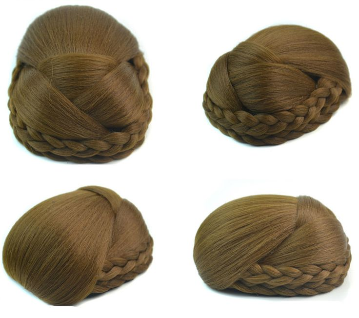 Q48  Hair buns synthetic hair color of 6P hair piece bun