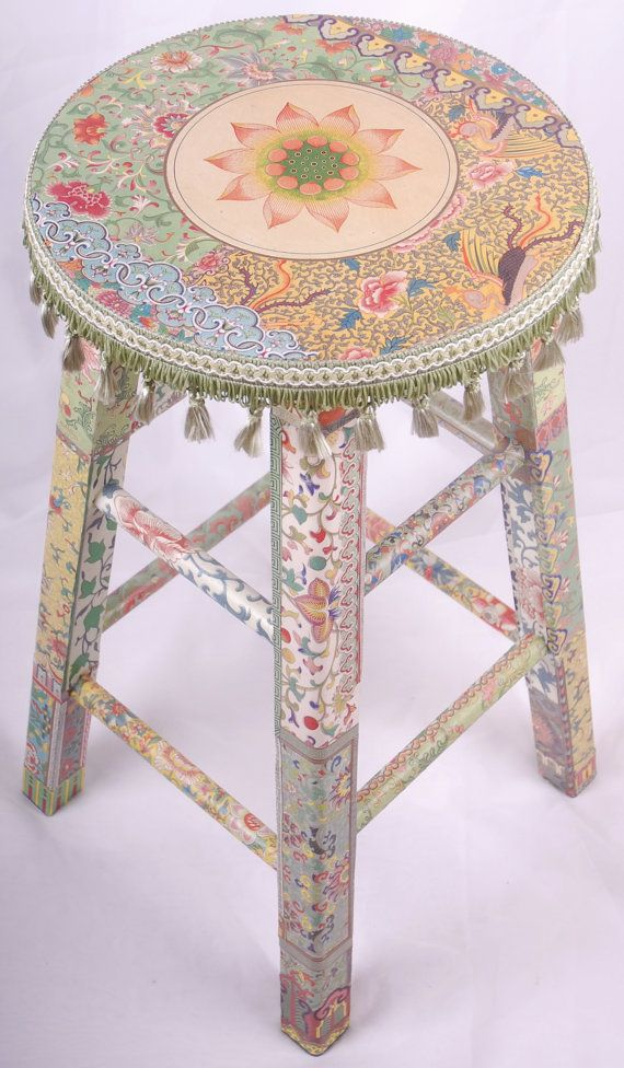 Decoupage stool Qian by kitschemporium on Etsy Decoupage- think summer projects for kids boxes, tables, anything