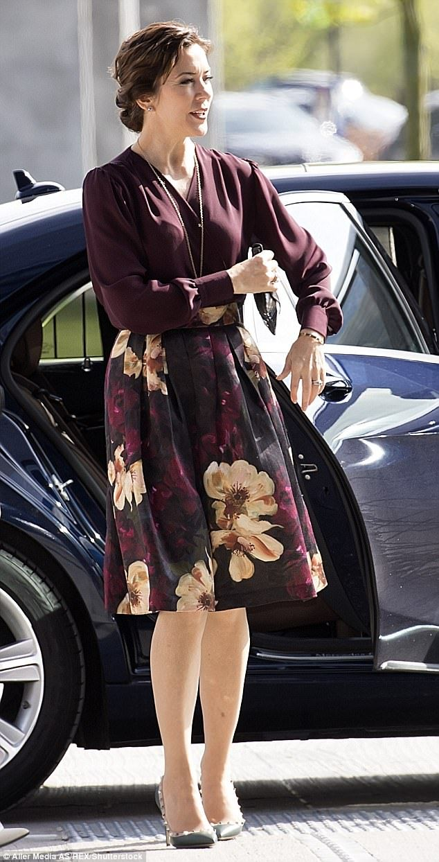 Crown Princess Mary attended the Fashion Summit 2017 in Copenhagen where she delivered a speech on sustainability in fashion - she wore a floral skirt by H&M's eco collection (pictured)