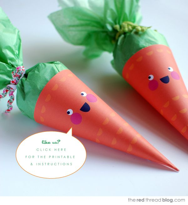Easter carrot treat cones with free printable template