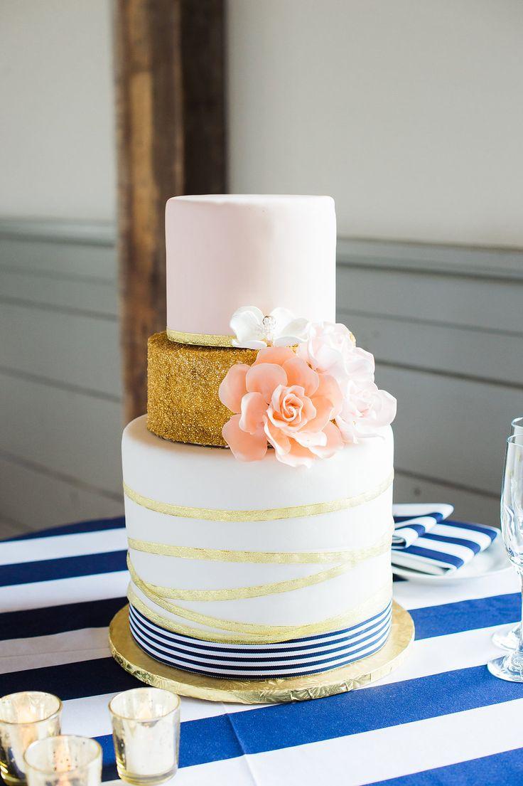 Nautical & Preppy Wedding Cake for Blush & Navy Nantucket Wedding