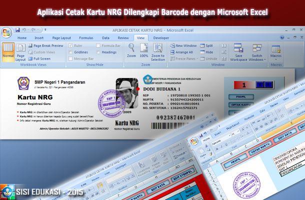 [.xls otomatis] Aplikasi Cetak Kartu NRG Terbaru Dilengkapi Barcode Menggunakan Microsoft Excel
