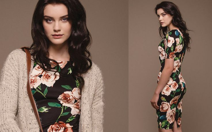 http://www.iclothing.com/fiona-floral-print-3-4-sleeve-dress #iclothing #AW14 #AutumnStyle #AutumnFashion