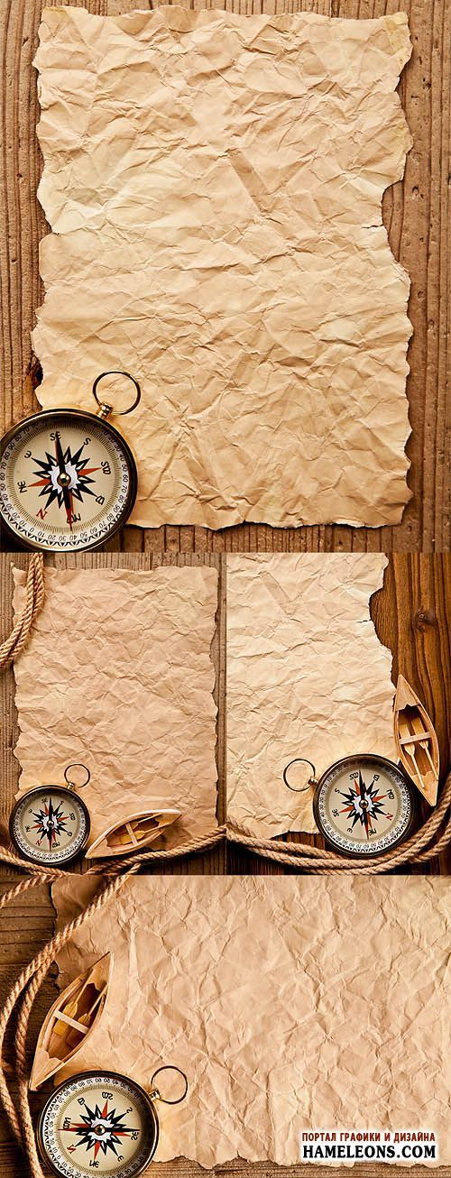 Мятая старая бумага, веревка и компас - Растровые фоны | Old paper and compass