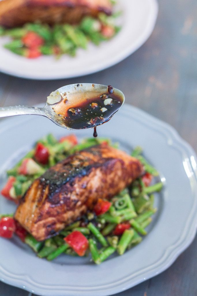 Honey Garlic Salmon with Warm Chopped Asparagus Salad   http://mayakitchenette.com/honey-garlic-salmon-with-warm-chopped-asparagus-salad/
