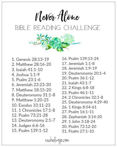 Never Alone Bible Reading Plan & Journal Challenge - RachelWojo.com