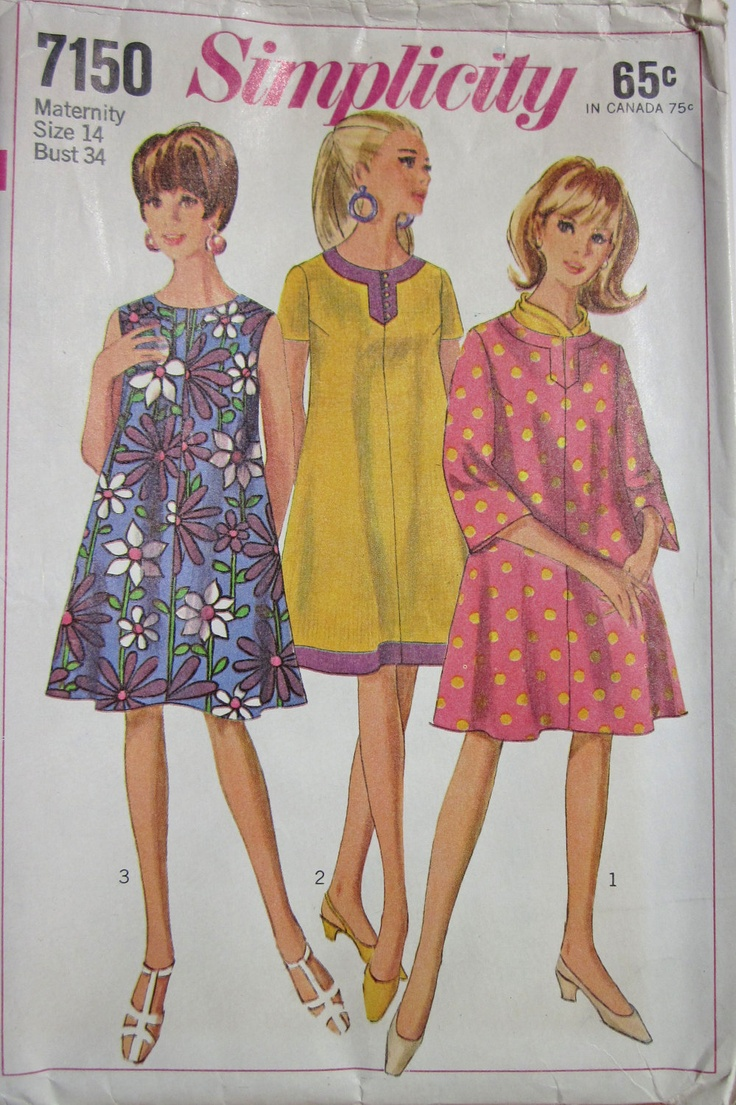 80 best trapeze dress images on pinterest bell sleeves clothes vintage 1967 simplicity 7150 sewing pattern maternity dress with sleeve variations and bell sleeves size 14 ombrellifo Images