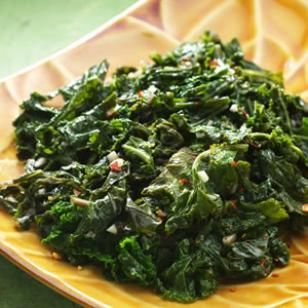 Basic sauteed Kale - Olive oil, 2 cloves diced garlic, 1/2 c