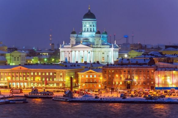 Helsinki Cathedral at night.