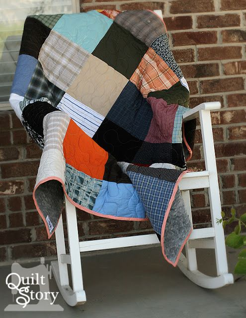memory quilts from Dad's shirts - I wish I had my dad's old shirts.  Love this idea!