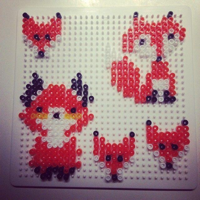 Foxes hama beads by missdarkangel