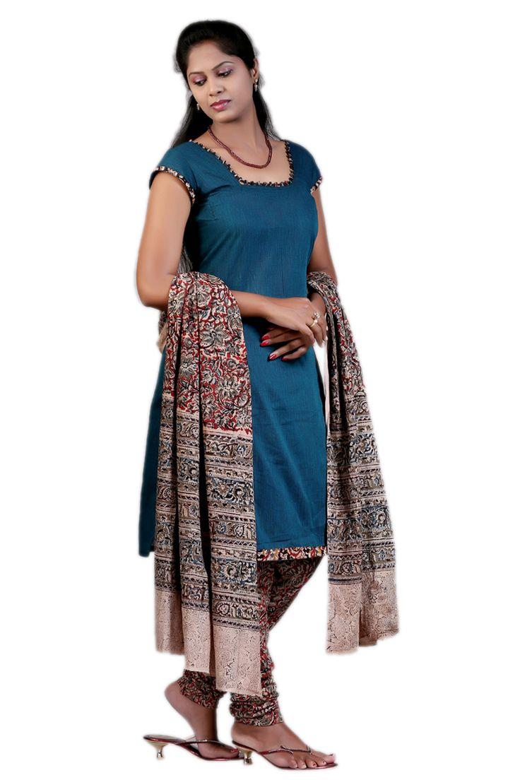Dress material with cotton top & block kalamkari bottom ...