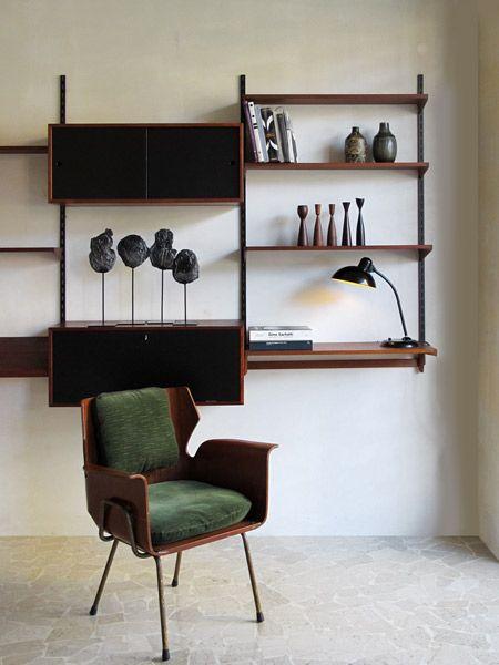Kai Kristiansen teak shelving system FM Mobler 1960 - Italian armchair ...