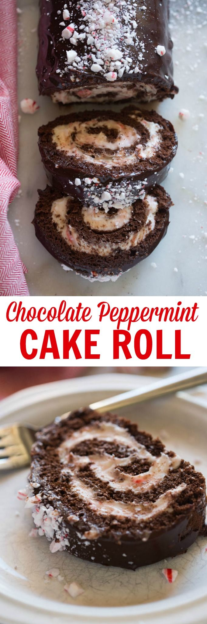Chocolate Peppermint Cake Roll with a cream cheese peppermint filling and chocolate ganache on top. A beautiful, festive dessert for the holidays! via @betrfromscratch