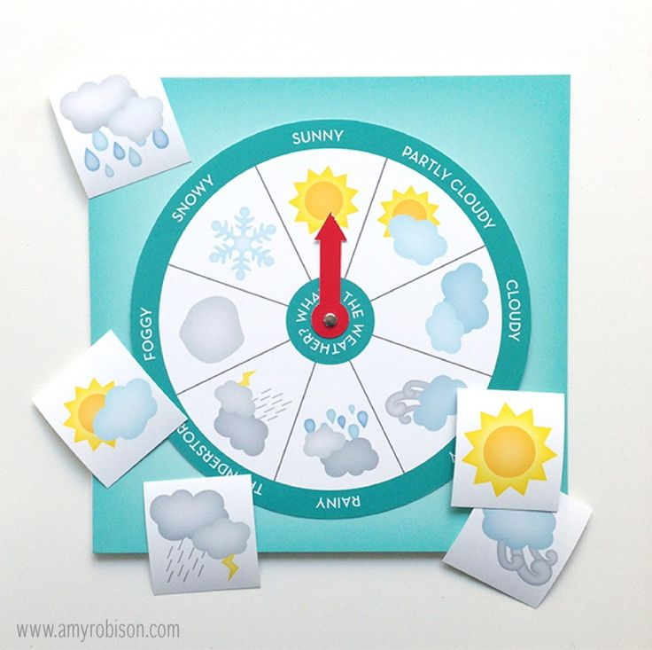 Spin the wheel Weather Chart and cards to place on the calendar to track weather patterns for the seasons.