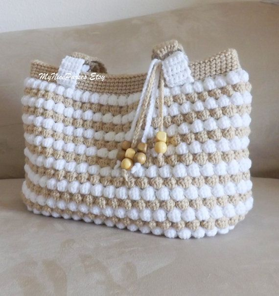 Gorgeous crochet tan and white purse crochet by MyNicePurses, $75.00