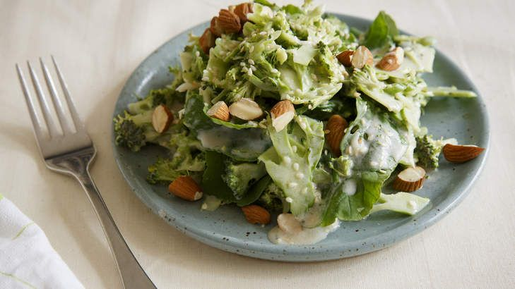 Frank Camorra's Boccoli and sesame salad with almonds and buttermilk dressing. hungry yet?