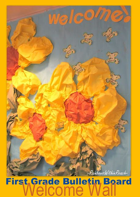 Spring 'Bulletin Board' (wall) in First Grade: Article on all things spring flower -- projects and bulletin boards, tissue paper and set design