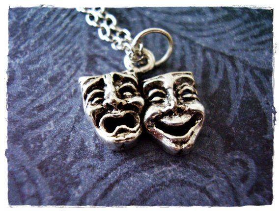 Silver Theatre Masks Necklace